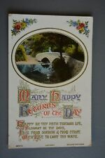 R&L Postcard: Greetings, Birthday Stone Bridge River Scene, J Beagles