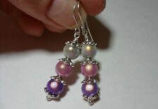 Wonder Bead Earrings Mauve Pink White Illusion Dangle 925 Sterling Silver Wires