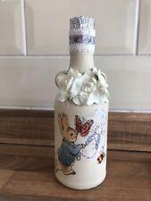 Shabby Chic Style Peter Rabbit Glass Decor Bottle