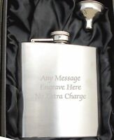Engraved Personalized Stainless Steel 6oz Hip Flask,Funnel and Gift Box