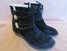 Women's Ugg Caspia Black Suede Leather Ankle Boots Shearling Lined Size 7