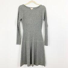 Sundance Gray Merino Wool Sweater Dress Size XS Ribbed Drop Waist Long Sleeves