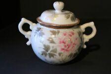 Vintage Porcelain Sugar Bowl w/ Lid Painted Pink & Green Zinnia Gold Detail