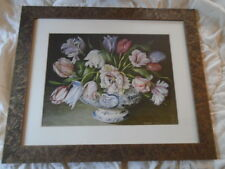 Flowers In Oriental Vase Planter Matted Art Print Signed Galley Etched Frame