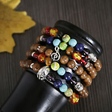 8mm Wooden Beaded Energy Yoga Reiki 7 Chakra Bracelets Women Men Fashion Jewelry
