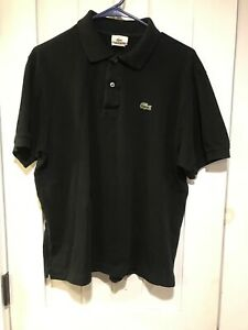 Lacoste Polo Shirt Mens Size 5 Large Black Short Sleeve 100% Cotton-preowned