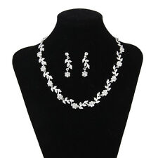 Bridal Wedding Jewelry Set Necklace Earrings Set Crystal Flower and Leaves Shape
