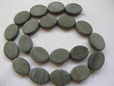 """Green marble flat oval beads 15"""" 20mm x 15mm grey"""