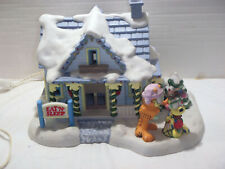 Miniature Ceramic Licensed Garfield'S Christmas Village Bed & Breakfast Statue