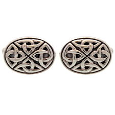 Sterling Silver Oxidised Celtic Oval Cufflinks with Gift Box