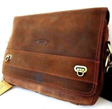 Genuine Men's Leather Bag for iPad Laptop Vintage Style Brown Classic Crossbody