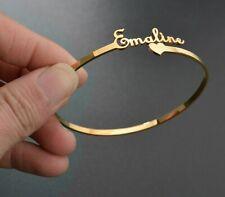 Customized Nameplate Name Bracelet Personalized Custom Cuff Bangles Women Men
