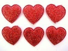 50 Glitter Heart Gold Dust Applique/Die Cut Shape/Christmas Craft/Paper H418-Red
