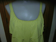 FRENCH LAUNDRY-SLVLS-YELW/GRN TOP-WHT PINDOTS-FRONT LAYERED RUFFLES-S-NWT