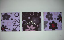 3 HANDMADE ART LILAC AUBERGINE PURPLE PLUM FLOWERED FLORAL WALL HANGINGS & CLOCK