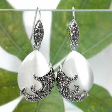 Navachi Vintage Tibetan Silver Opal Crystal Dangle Drop Earrings BH1091