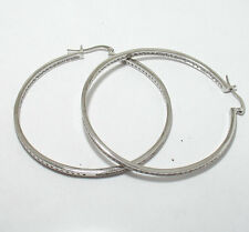 Channel Set Inside Out Diamonique CZ Hoop Earrings REAL Sterling Silver 3""