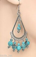 Turquoise Bead Silver-Tone Dangle Drop Chandelier Earrings -E4000