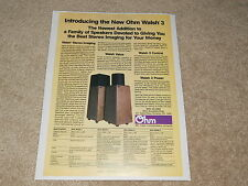 Ohm Walsh 3 Speaker Ad, 1985, Specs, Walsh 4,2,1, Articles, Info, Specs, 1 page