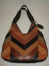 Black Rivet Patchwork Patches Purse Hobo Shoulder Bag Tote Brown Genuine Leather