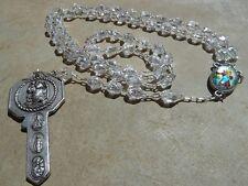 Chapelet en perles à facettes Saint Christophe St Joseph avec clé Saint Antoine
