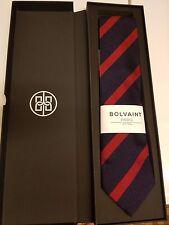 Men's Bolvaint - Tabit Oxford Striped Navy/Red Handmade 100% Silk Tie-NEW IN BOX