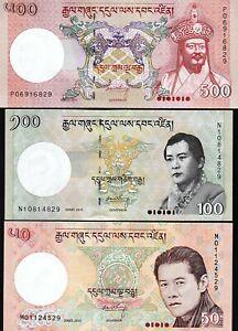 Bhutan 3 PCS SET , 50 100 500 Ngultrum , 2011 2013 2015 , UNC , P-31b 32c 33b