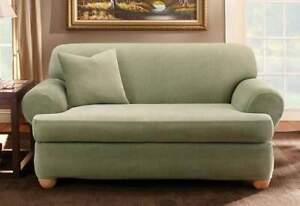 Sure Fit Stretch Stripe Two Piece T-Sofa Slipcover SAGE  NEW Form Fit