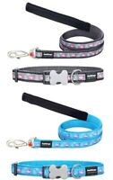 Red Dingo FLAMINGO Collar / Lead | Dog / Puppy | Size XS - LG | GREY / TURQUOISE