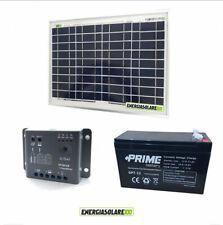 Kit Solare Fotovoltaico pannello 10W 12V Batteria 7Ah AGM Regolatore PWM 5A