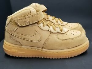NIKE AIR FORCE 1 MID LV8 (PS) WHEAT-FLAX-OUTDOOR GREEN SZ 12.5C  [859337-200]