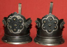 Set 2 Vintage Soviet  Russian  Ornate Silverplated Filigree Cup Holders