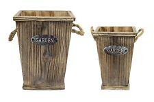 Primus paire de Square Wooden Planters Rustique Jardin Fleur Plante Pot Seau