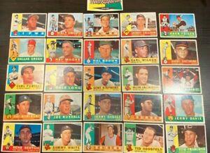 1960 Topps Baseball Trading Cards Lot of (26) Vic Power, Tito Francona