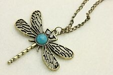 Collier pendentif libellule pierre bleu strass été vintage IDÉE CADEAU