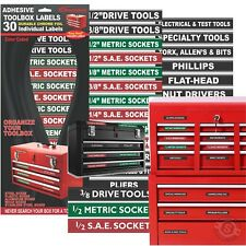 Adhesive TOOLBOX LABELS Organize your Socket Sets - Green Edition