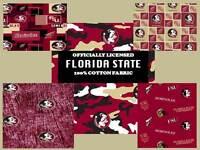Florida State University Cotton Fabric-FSU Seminoles Cotton Fabric-ALL PATTERNS