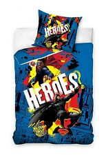 BATMAN v SUPERMAN HEROES Blue Single Bed Duvet Cover Set 100% COTTON + GRATIS !!
