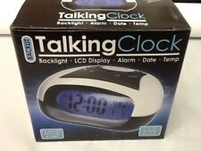 English Talking Speaking Alarm Clock Visually Impaired Blind Time Temp & Date