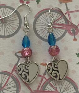 "Brighton DECO BRIGHTS Heart Pink/Blue Beads Custom Silver Earrings 1.5"""