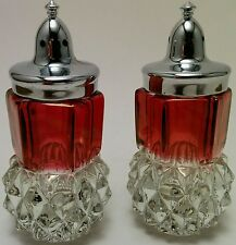 Indiana Glass Clear Ruby Flash Diamond Point Salt & Pepper Shakers Vintage