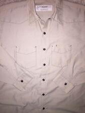WEAR GUARD X Large WORK L/S Tan GARAGE Uniform SHIRT poly/cotton USA VINTAGE