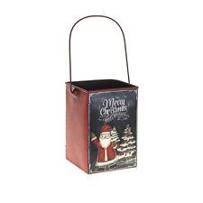 Feliz Navidad Metal Maceta Con Mango-Decorativo 11,5 X 11,5 X 16,5 Cm