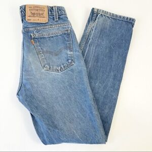 Levi's 505 Vintage Orange Tab Straight Leg Jeans Light Wash Mens Size 32X32