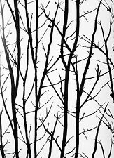 Modern Black Trees and Branches on White Albert Van Luit Wallpaper AVL183602