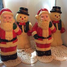 "BLOWMOLDS VTG 10"" PATHWAY SANTAS & SNOWMEN, LOT OF 4, CHRISTMAS OUTDOOR DECOR"