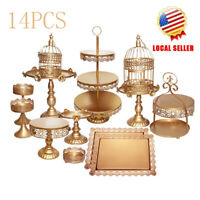 14PCS Classical Gold Cake Holder Wedding Dessert Cupcake Stand Set Metal Plates