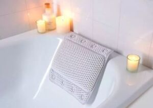 Beldray Non Slip White Cushion Spa Bath Pillow With Suction Pads Head Neck Rest