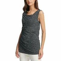 DKNY Women's Crew Neck Sleeveless Ruched Printed Blouse (Black, L)
