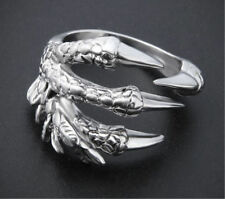 Fashion Men's Stainless Steel Silver Gothic Punk Charm dragon claw Finger Ring